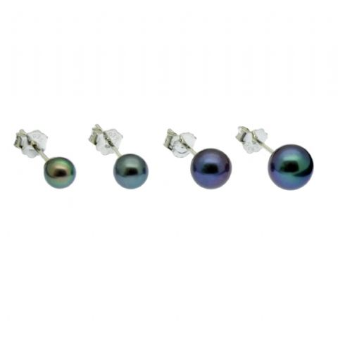 Round Black Pearl Stud Earrings Cultured Pearls Sterling Silver
